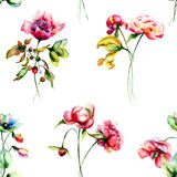 Seamless pattern with Garden flowers Stock Photography