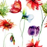 Seamless pattern with garden flowers Royalty Free Stock Image