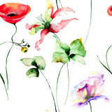 Seamless pattern with garden flowers. Watercolor painting Royalty Free Stock Photos