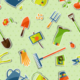 Seamless pattern with garden sticker design Stock Image