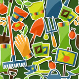 Seamless pattern with garden sticker design Stock Images