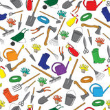 Seamless pattern of garden tools. And accessories. Hand Drawn Stock Photos