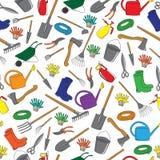 Seamless pattern of garden tools Stock Photos