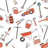 Seamless pattern of garden tools. Royalty Free Stock Photo