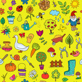 Seamless pattern of gardening objects Stock Photos