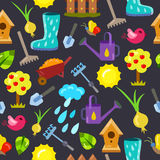 Seamless pattern with gardening objects. Royalty Free Stock Image