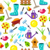 Seamless pattern with gardening objects. Royalty Free Stock Photography