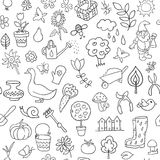 Seamless pattern of gardening objects Stock Photo