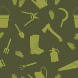 Seamless pattern with gardening tools Royalty Free Stock Photography