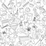Seamless pattern with gardening tools, flower pots Stock Images