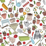 Seamless pattern with gardening tools, flower pots and vegetables Royalty Free Stock Photography