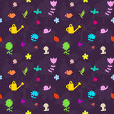 Seamless pattern with gardening tools and flowers Stock Image