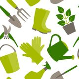 Seamless pattern of gardening tools Royalty Free Stock Photos