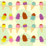 Seamless pattern with garland of ice cream Stock Photography