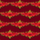 Seamless pattern. Garland of poppies on burgundy background. Royalty Free Stock Photography