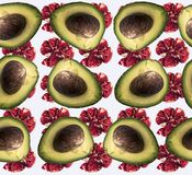 Seamless pattern with garnets and avocado. For people leading a healthy lifestyle: vegetarians, vegans and fruthorians. Can be used for napkins, towels, table royalty free stock image