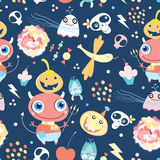 Seamless pattern of gay ghosts and monsters Stock Photo