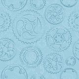 Seamless pattern with gears and cogs. Seamless pattern with dark outlined gears and cogs light blue background. Stylish designed vector illustration for banner Royalty Free Stock Photography