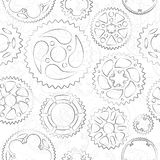 Seamless pattern with gears and cogs. Seamless pattern with black outlined gears and cogs on white background. Classic designed vector illustration for banner stock illustration