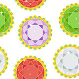Seamless pattern gems round. Seamless pattern with gem in golden openwork frame with colored pearls. Flat vector cartoon illustration. Objects isolated on a stock illustration