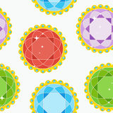 Seamless pattern gems round grey. Seamless pattern with gem in golden openwork frame with colored pearls. Flat vector cartoon illustration. Objects isolated on a vector illustration
