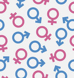Seamless Pattern of Gender Icons, Wallpaper of Male and Female Stock Photos
