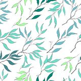 Seamless pattern of gentle green leaves. For decoration of greeting cards, tiles, bedding, invitations, greetings and advertising stock illustration
