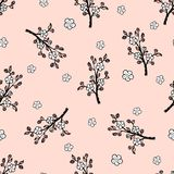 Seamless pattern with a gentle Japanese oriental cherry. Seamless pattern with a gentle Japanese oriental cherry on the pink background vector illustration