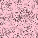 Seamless pattern with gentle linear roses and leaves on a pink background royalty free illustration