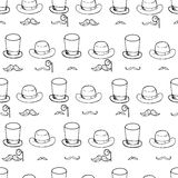 Seamless pattern with gentlemen elements, hats and mustache. Stock Image