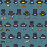 Seamless pattern with gentlemen elements, hats and mustache. Royalty Free Stock Photography