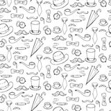 Seamless pattern with gentlemen elements, hats and mustache. Royalty Free Stock Image