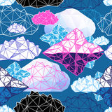 Seamless  pattern with geometric clouds Royalty Free Stock Images