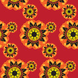 Seamless pattern with geometric colors. Decorative wallpaper design in shape. Floral background for fabric, textile wallpaper. Bright texture Stock Photo