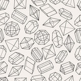 Seamless pattern with geometric crystals and. Minerals stock illustration