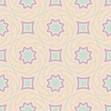 Seamless pattern with geometric design. Violet and blue elements on pale pink background. For fabrics and wallpapers Stock Photos