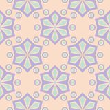 Seamless pattern with geometric design. Violet and blue elements on pale pink background. For fabrics and wallpapers Royalty Free Stock Photography