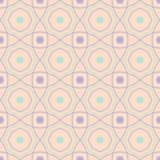 Seamless pattern with geometric design. Violet and blue elements on pale pink background. For fabrics and wallpapers Stock Photo