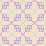 Seamless pattern with geometric design. Violet and blue elements on pale pink background. For fabrics and wallpapers Royalty Free Stock Photos