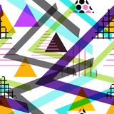 Seamless pattern Geometric elements Memphis Postmodern Retro fashion style 80-90s. texture shapes triangle black blue lilac orange. Green for site fabric on royalty free illustration