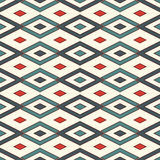 Seamless pattern with geometric figures. Repeated diamond ornamental background. Rhombuses and lines motif. Stock Photography