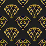 Seamless pattern of geometric golden foil diamonds on black background. Trendy hipster crystals design. Royalty Free Stock Images