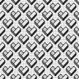 Seamless pattern with geometric grey hearts stock photography