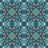 Seamless pattern geometric grunge ines background. Abstract blue seamless ornamental vector pattern for fabric. mosaic tiled Stock Photos