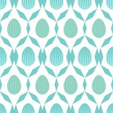 Seamless pattern of geometric lines and blue lined easter eggs. Seamless pattern of geometric lines and blue waves easter eggs surrounded by crystalline shapes Royalty Free Stock Images