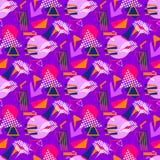 Seamless pattern geometric motifs. And 80s style lips Vector Illustration