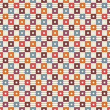 Seamless pattern with geometric ornament. Repeated bright square and stripes background. Vivid colors surface texture. Royalty Free Stock Photo