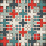 Seamless pattern with geometric ornament. Repeated squares and crosses abstract background. Modern surface texture. Royalty Free Stock Images