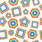 Seamless pattern with geometric rainbow figures - star, square a. Nd other. Artistic psychedelic background. Vector illustration Royalty Free Stock Photos