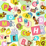 Seamless pattern with geometric shapes and animals alphabet Royalty Free Stock Images